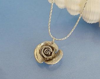 Solid silver rose pendant, darkened 925 handmade sterling silver metal rose jewellery nature lover gift mum girlfriend wife.