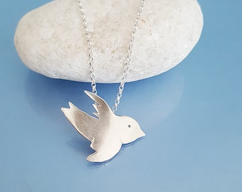 Bird pendant, handmade silver bird necklace peace symbol jewellery, sterling silver dove necklace unique gift for girlfriend wife mum