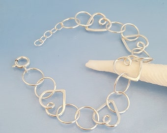 Sterling silver heart link bracelet, handmade hearts jewellery, love heart and circles linked bracelet gift bride mum girlfriend wife