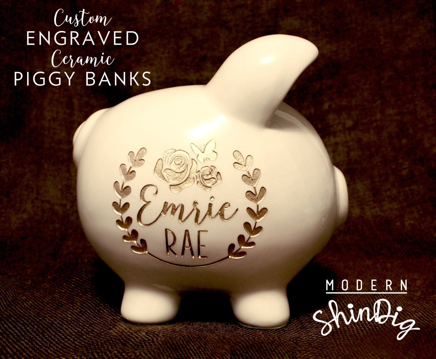 Piggy Bank With Free Custom Engraved Design Baby Girl Baby Etsy