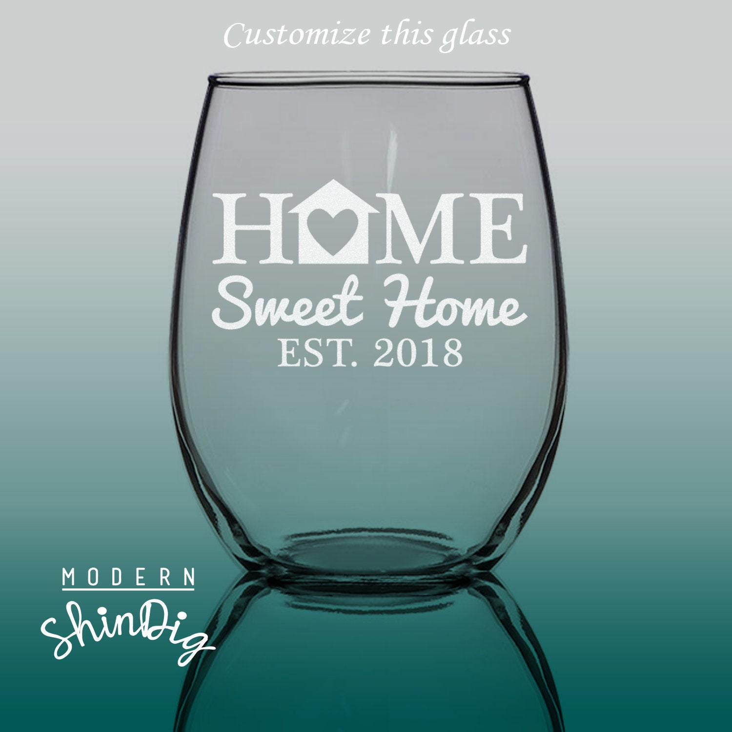 Housewarming Gift SHIPS FAST Engraved Home Sweet Home Wine Glass Real Estate Closing Gift- SG31 17 oz Stemless Premium Glass