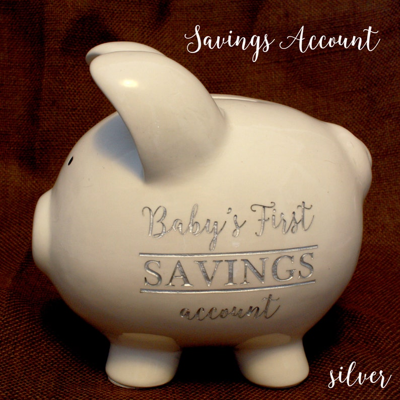 Engraved Piggy Bank Baby S First Savings Account Large Etsy