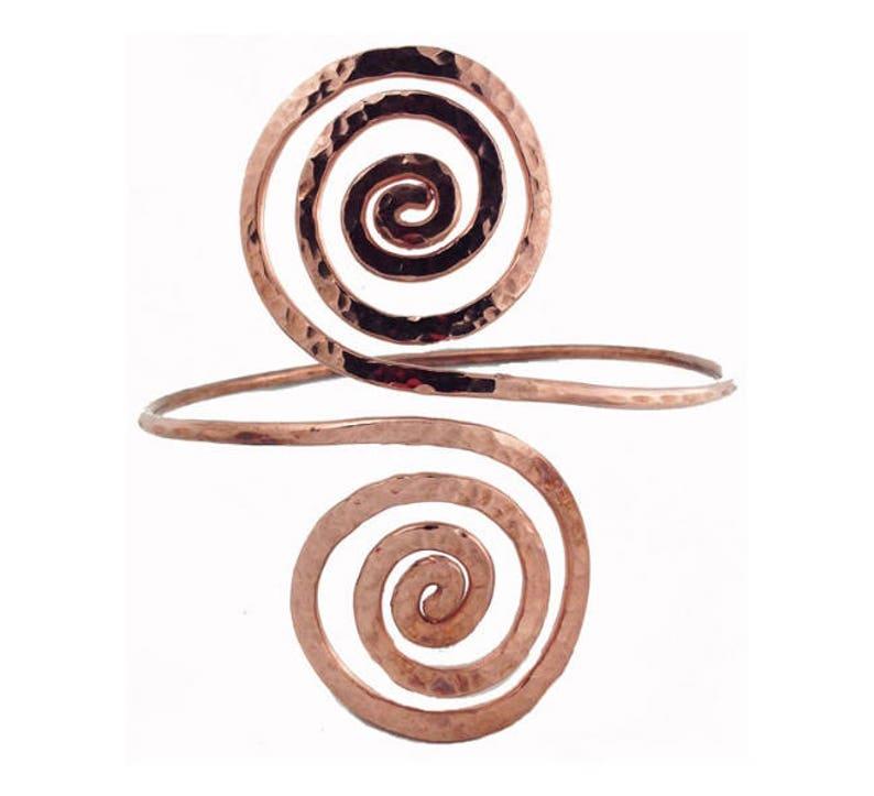 Omazi Solid Copper Arm Band Bracelet Hammered Open Wave Design