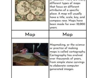Montessori Map Vocabulary - Three/Four Part Cards