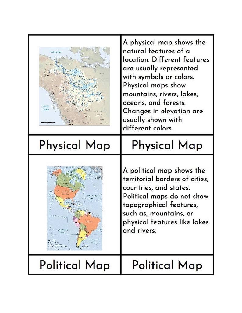 Montessori Types of Maps - Three/Four Part Cards on hand drawn maps, geographic information system, history maps, vegetation maps, historical maps, designs of maps, names of maps, google maps, global positioning system, artistic maps, aerial photography, rand mcnally maps, contour line, benefits of maps, satellite imagery, printable mind maps, process maps, disadvantages of maps, early world maps, map projection, varieties of maps, development of maps, characteristics of maps, geographic coordinate system, global map, signs of maps, satellite maps, beer cap maps,