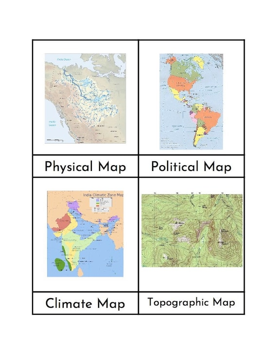 Montessori Types of Maps - Three/Four Part Cards on illustrations of projection maps, 4 different time zones, types of precipitation maps, various types of maps, types of forests maps, types of geographical maps, kinds of maps, the 5 different maps, examples of types of maps, 3 types of thematic maps, 3 different maps, different projections of maps,