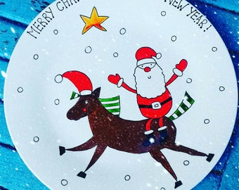 Santa & Rudolph carrot Christmas plate. Santa plate. Christmas eve plate. Hand painted plate. Washable. Not sharpie. Father Christmas plate