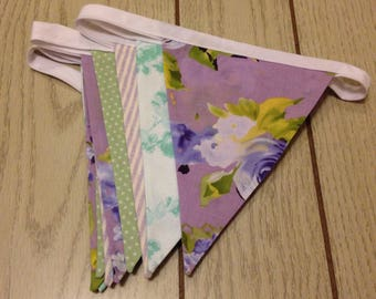 Purple and Green Floral Bunting