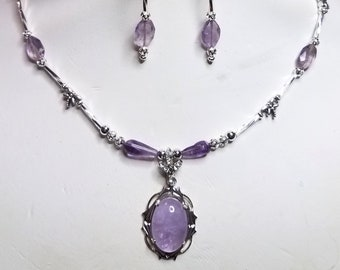 CLC590 Lilac Amethyst Elfin Pendant W/ Crystal Bail, Amethyst Tear Drops and Faceted Beads, and Silver Dragonfly beads