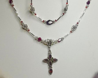 CLC585 SS Garnet Silver Cross W/ Silver Flowers & Garnet Beads