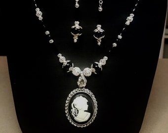 CLC573 Black & White Cameo W/ crystal Drop, Black Onyx and Silver Filagree Beads