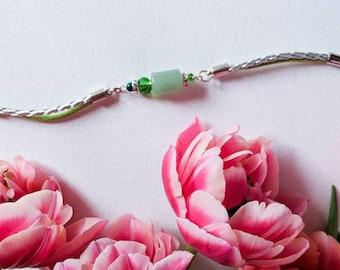 Green jade stone bracelet Mint green bracelet Natural jewelry Apple green jewellry Green pastel bracelet Luxe Gift Women fashion Inspiration