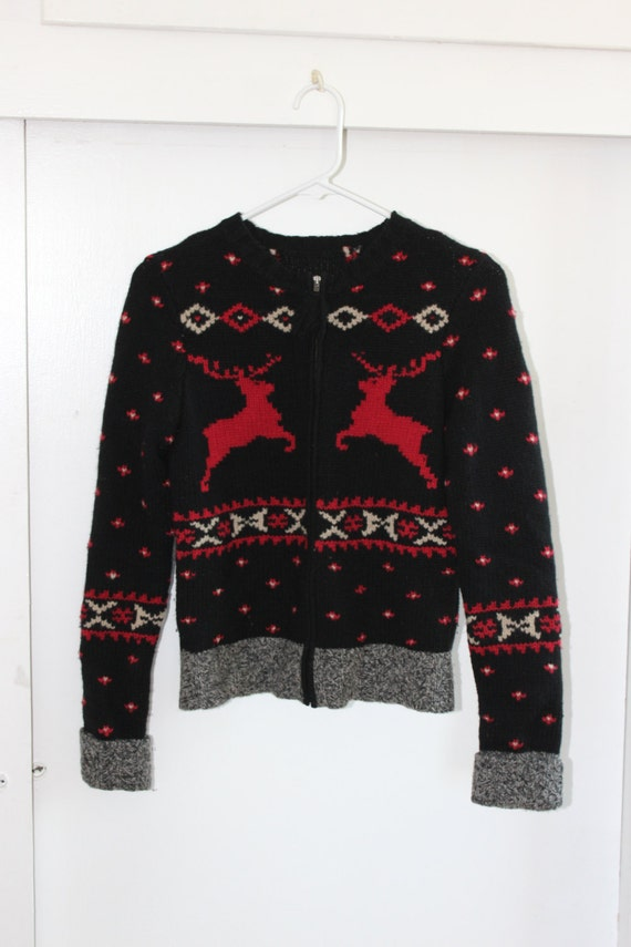 Vintage 50s Knit Christmas Sweater Cardigan Metal Zipper | Etsy