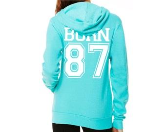 Personalisiertes Damen Sweatshirt individuell bedruckt Unisex Hoodie mit  Jahreszahl Sweatjacke ef2eaeee58