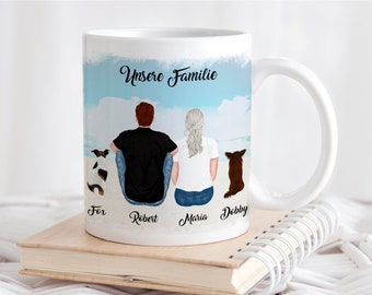 Personalized cup master and dog mistress and pet with name and saying couple cup with dogs coffee mug coffee cup