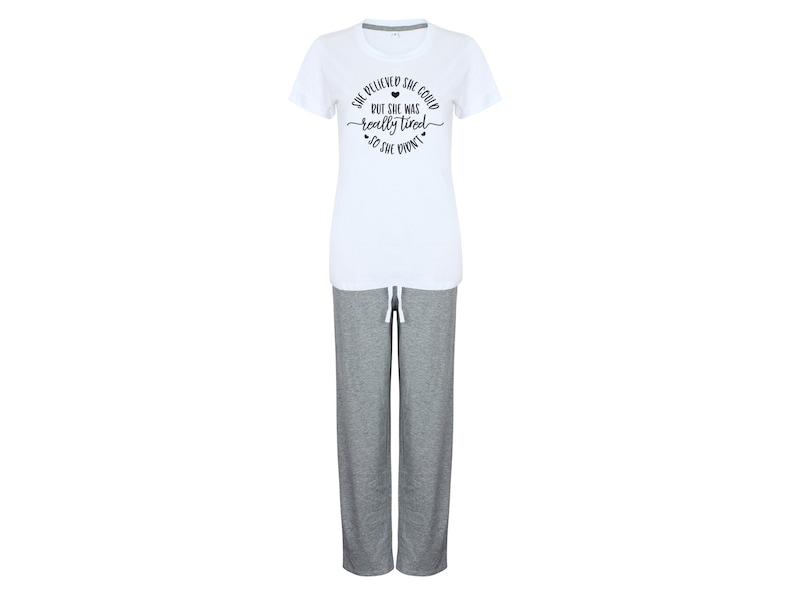 7abb22fac6 Pyjama Set mit Spruch bedruckter Schlafanzug T-Shirt und lange | Etsy