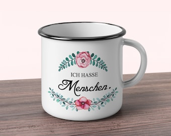 Printed enamel cup with flowers and saying I hate people shabby chic