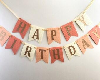 Peach Happy Birthday Banner, Peach Coral Gold Birthday Banner, Girl Birthday, 1st Birthday Banner, Girl Banner