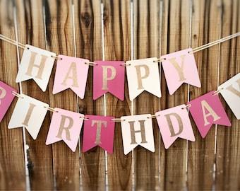 Happy Birthday Banner, Pink Birthday Banner, 1st Birthday Banner, Girl Birthday Banner