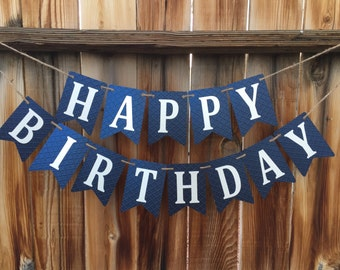 Blue happy birthday banner, Boy 1st Birthday, Birthday Banner,  Blue Banner, Happy Birthday banner