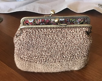 Wallet Organize Complement Women Original Exclusive Cloth Bag completely lined with a base in natural hemp Crochet Fabric