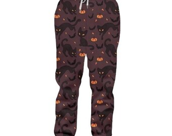 Cat Kitten Silhouette Children Cartoon Cotton Sweatpants Sport Jogger Elastic Pants