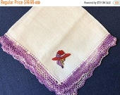 Red Hat Society Handkerchief, FREE SHIPPING, CHOOSE from Four Vintage Purple Hankies, New Applique Lady with Red Hat Purple Flower Scarf