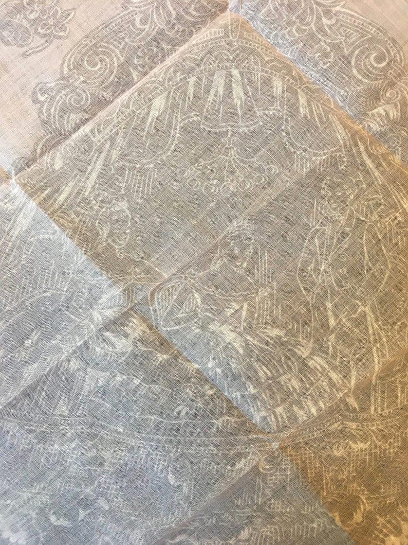 Wedding Gift FREE SHIPPING Vintage Pink Handkerchief Hankie 1800s Scene Bride Parents Bridal Gown Shower Silhouette Hankies Anniversary