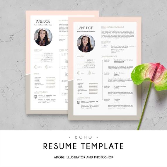 Curriculum Vitae Cv Design Resume Template Digital Print Etsy