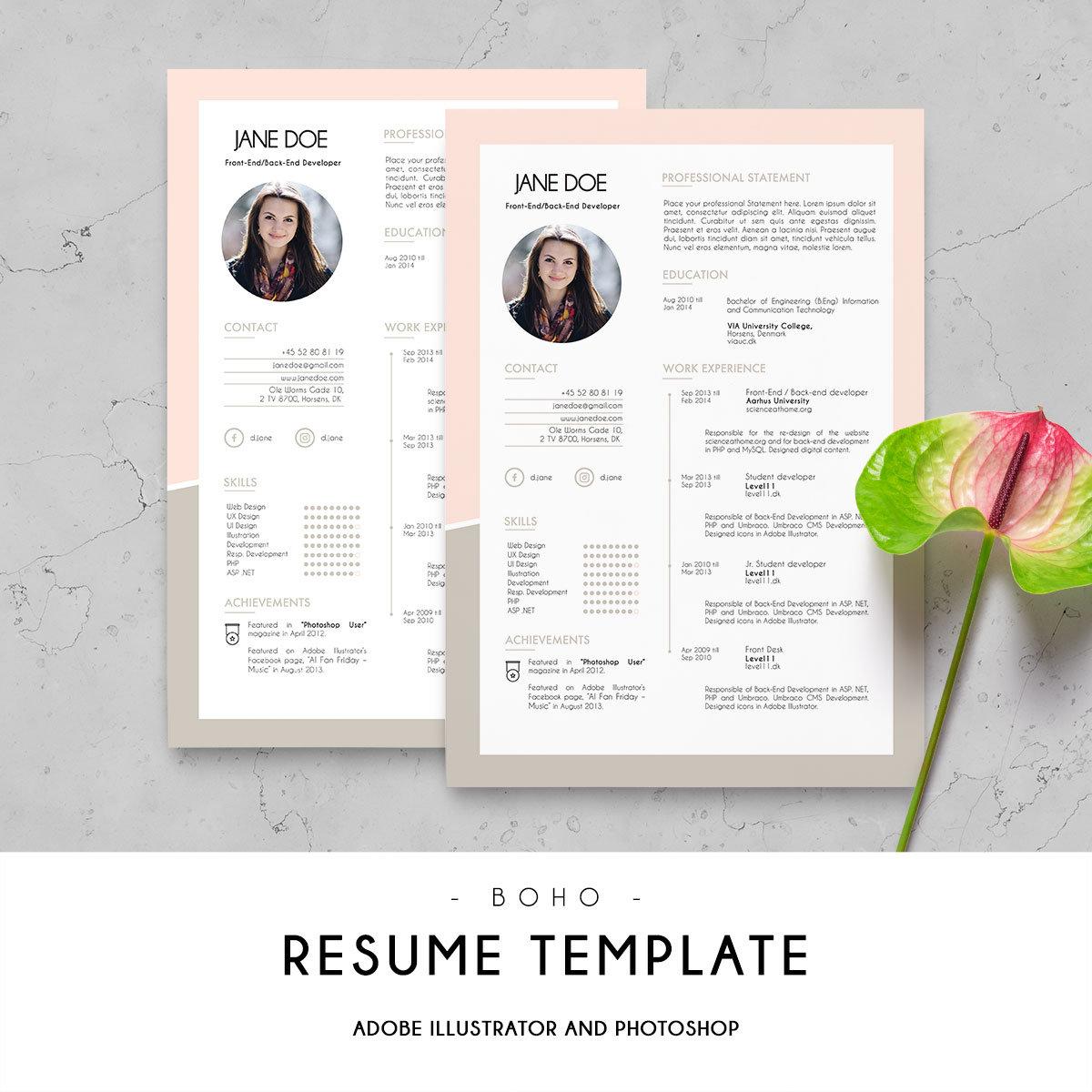 curriculum vitae cv design resume template digital print