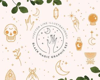 Mystic Black Magic Clipart Graphic Set