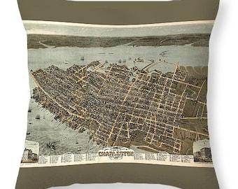 Charleston Harbor Throw Pillow South Carolina Nautical Etsy