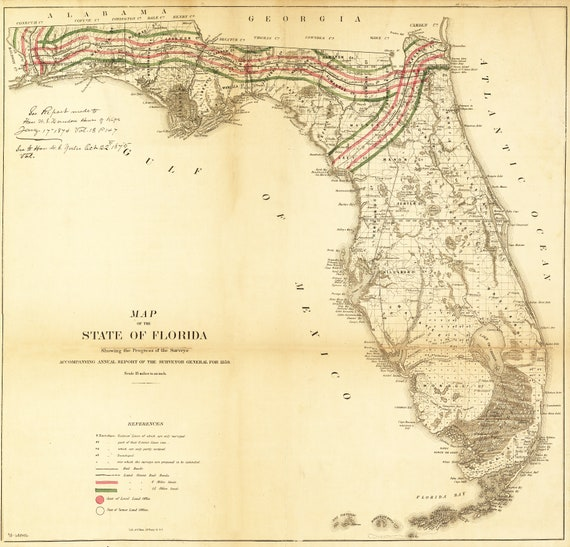 Florida Surveyor General Historic Map Print 1859 Okeechobee St Etsy