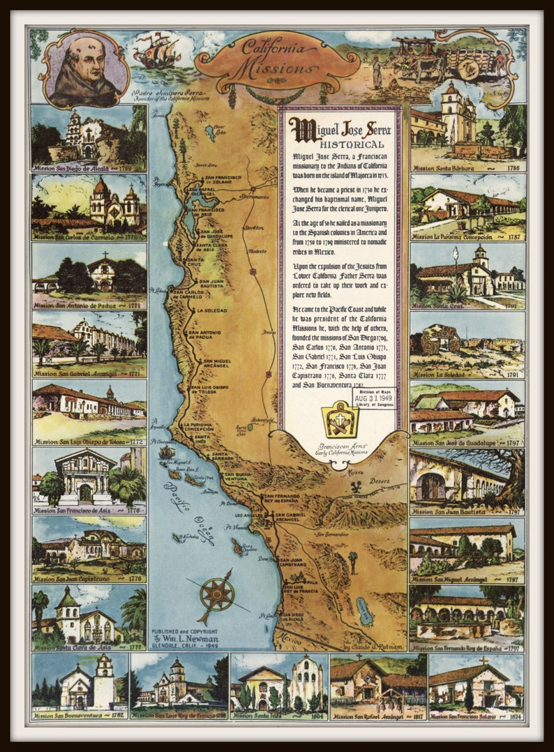 graphic about California Missions Map Printable called Missions of California Historical Map Print. California coastline, Christian map, San Diego, Los Angeles, San Francisco, Pacific Ocean