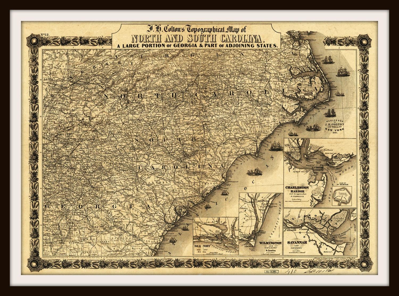Historische Karte von South Carolina Georgia und Virginia | Etsy