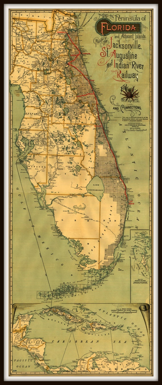 Map Florida East Coast.Florida East Coast Railroad Historic Map Print And Islands 1893 Bahamas Caribbean Miami Jacksonville West Palm Wall Art For Home Or Office