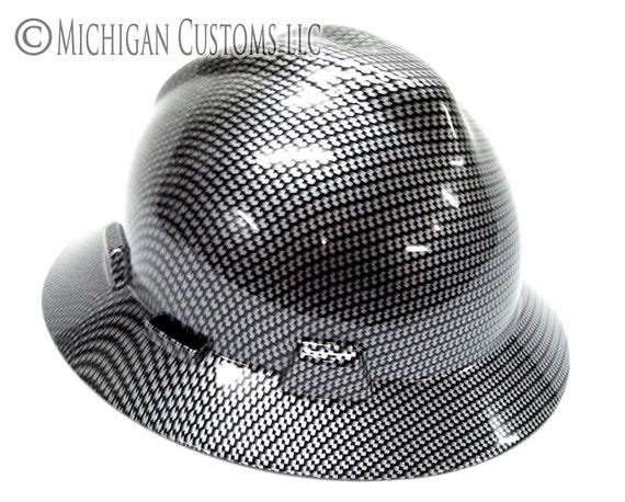 Silver Black Carbon Fiber Graphic Custom Hard Hat Msa Etsy