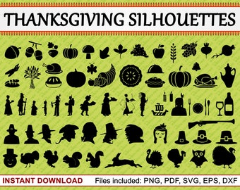 Thanksgiving Silhouettes, Set of 66 Commercial Use Clipart, Thanksgiving Clipart, Autumn, Fall, Turkey, Holiday, pdf png eps dxf svg file