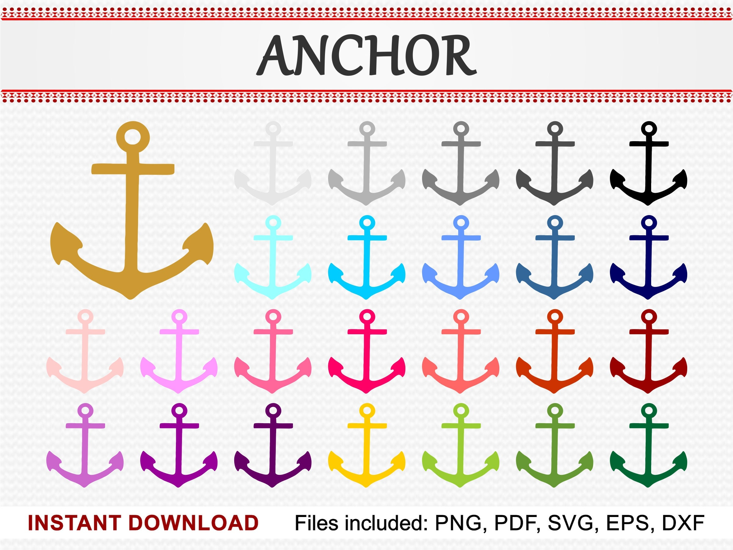 Anchor Silhouette Set Of 25 Colors Commercial Use Clipart Etsy