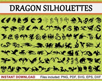 Dragon Silhouettes, Set of 98 Commercial Use Clipart, Chinese Dragon Clipart, Mythical Creature, Mythological, pdf png eps dxf svg file
