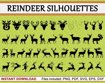 Reindeer Silhouettes, Set of 45 Commercial Use Clipart, Christmas Clipart, Reindeer Clipart, Deer Clipart, pdf png eps dxf svg files