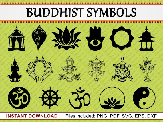 Buddhist Symbols Set Of 17 Commercial Use Clipart Vase Om