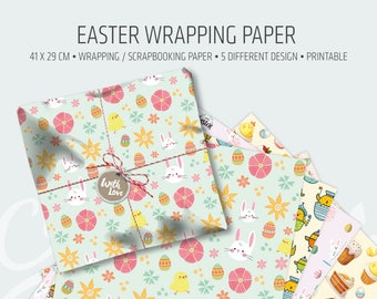 Easter wrapping paper • Printable clipart for Scrapbooking • paper sheets • gift wrapping paper • Digital Craft Paper