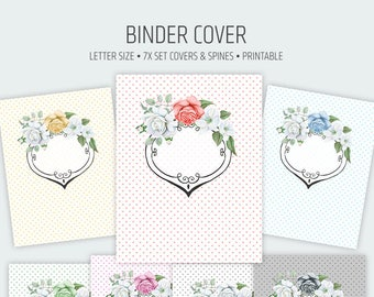 Binder cover printable 7x set Covers & Spines • Binder insert • Planner cover • Teacher binder • School binder inserts