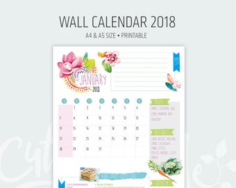 2018 Printable Monthly Calendar - To do list, recipe, green tip, fruits and vegetable of the month - printable desktop calendar