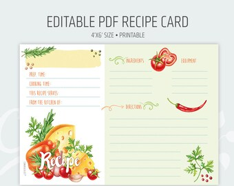 Recipe Card Shower Kitchen Editable PDF - Instant Download Recipe 4x6'' Watercolour pastel colours
