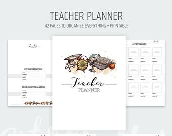 Teacher Planner Printable - School Homeschool - Lesson Planner - Class Organization - Teaching Calendar Diary - Letter size