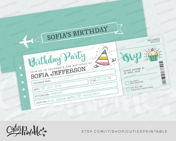 Travel Birthday Invitation Ticket Boarding Pass