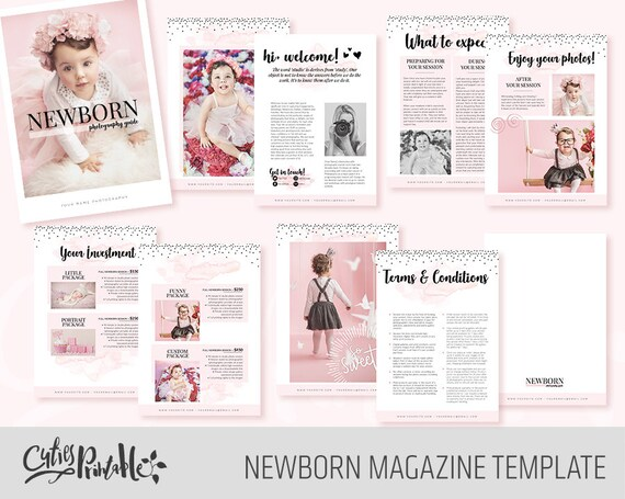 Newborn Photography Magazine 10 pages Template for   Etsy