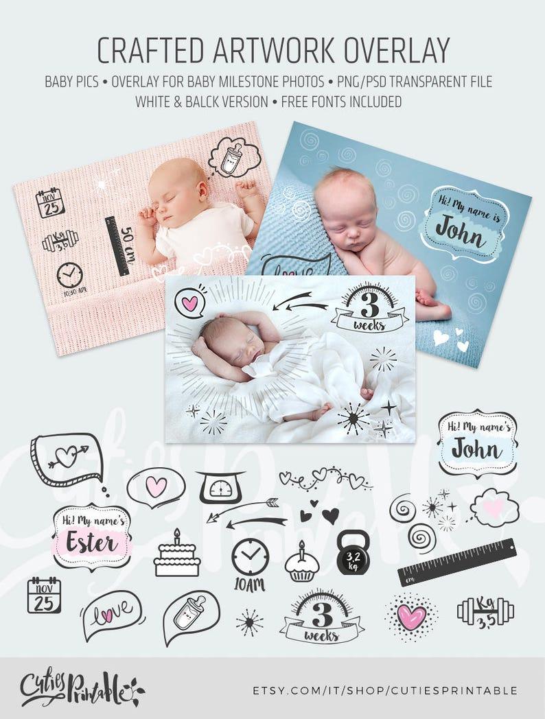 Crafted Overlay Artwork \u2022 Milestone Artwork \u2022 Photo Overlay \u2022 Baby Pics \u2022 Weekly baby bump growth \u2022 PNG /& Photoshop Transparent File